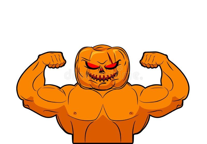 Krachtige Pompoen Fruit het bodybuilding met spieren Plantaardig verstand royalty-vrije illustratie