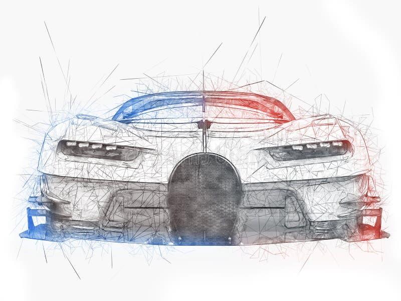 Krachtige super raceauto - technologie-tekening vector illustratie