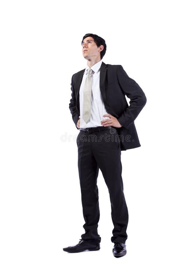 Krachtige zakenman die omhoog kijkt royalty-vrije stock foto