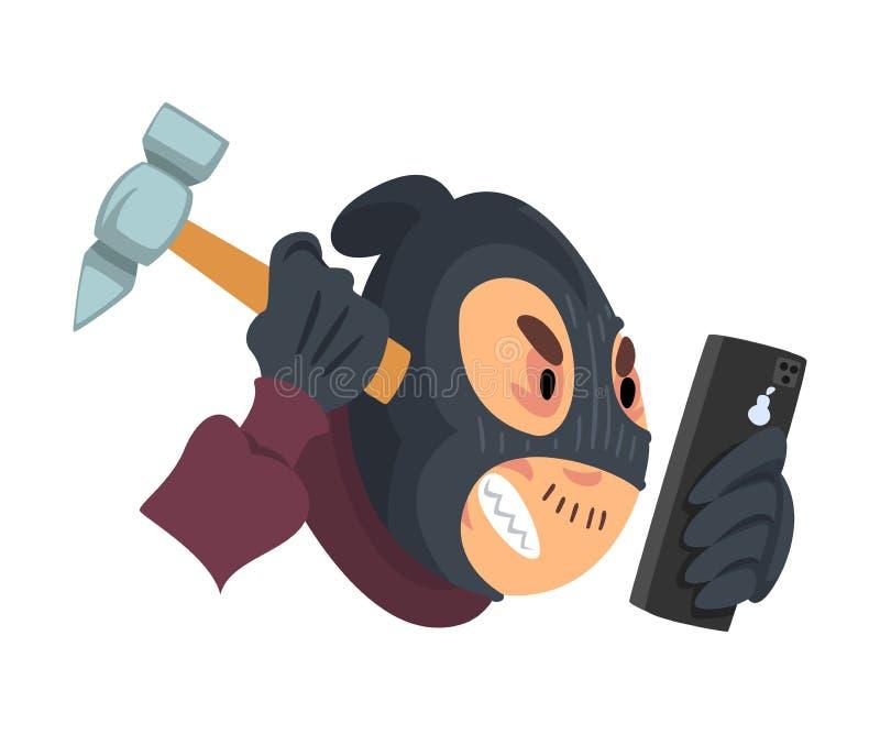 Kradzież danych Hacker Nosić Maskę Przerywanie na Ilustrację Wektorową Smartfona ilustracja wektor