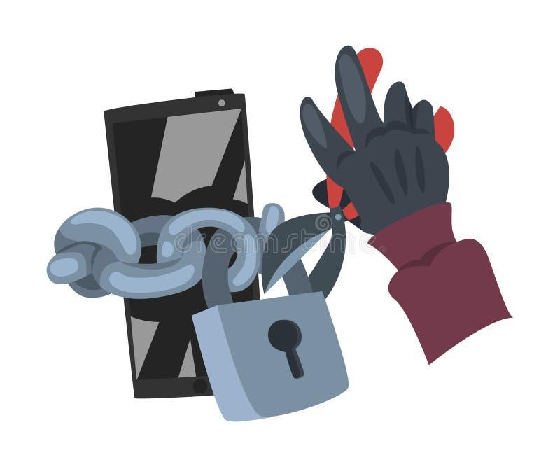 Kradzież danych Haker nosi rękawice Przerywające na ilustrację wektora smartfona ilustracja wektor
