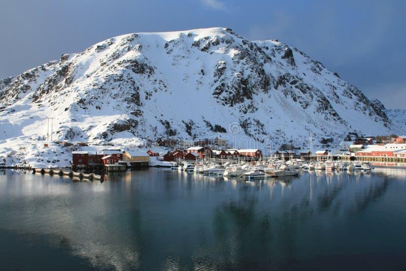 Kraemmervika in Lofoten. The old fishing harbour of Kraemmervika in Lofoten islands stock images