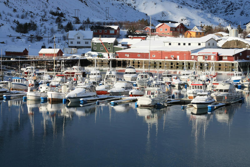 Kraemmervika's port. The harbour of Kraemmervika in Lofoten islands stock photos