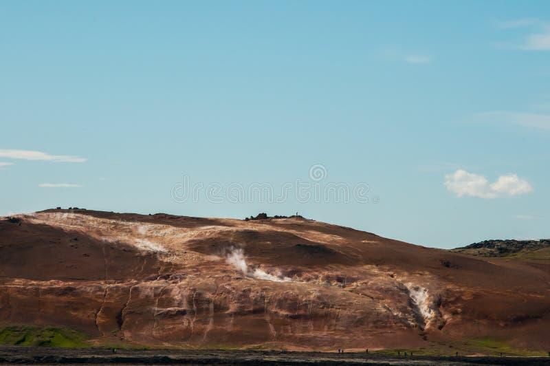 Krafla is een vulkanisch systeem met een diameter van ongeveer 20 die kilometers in het gebied van MÃ ½ worden gesitueerd vatn, h royalty-vrije stock fotografie