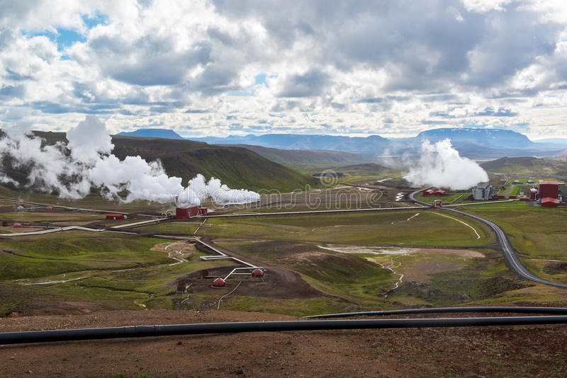 Krafla geothermal power station, rainy day, Northern Iceland stock photography