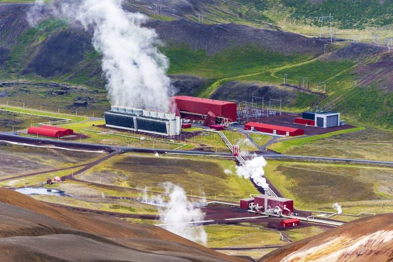 Krafla geothermische elektrische centrale in Nordurland-eystragebied van Noordelijk IJsland stock foto's