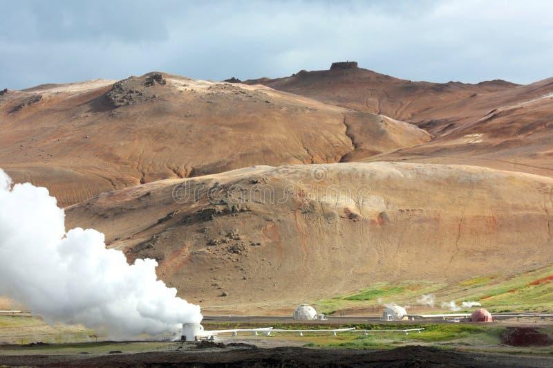 Krafla geothermisches Kraftwerk in Island lizenzfreie stockfotografie