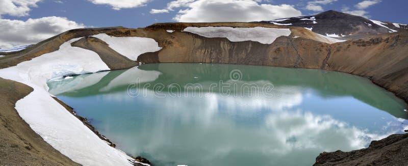 Krafla Volcano with lake stock photo
