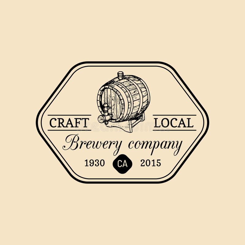 Kraft beer barrel logo. Old brewery icon. Lager retro sign. Hand sketched keg illustration. Vector vintage ale badge. royalty free illustration