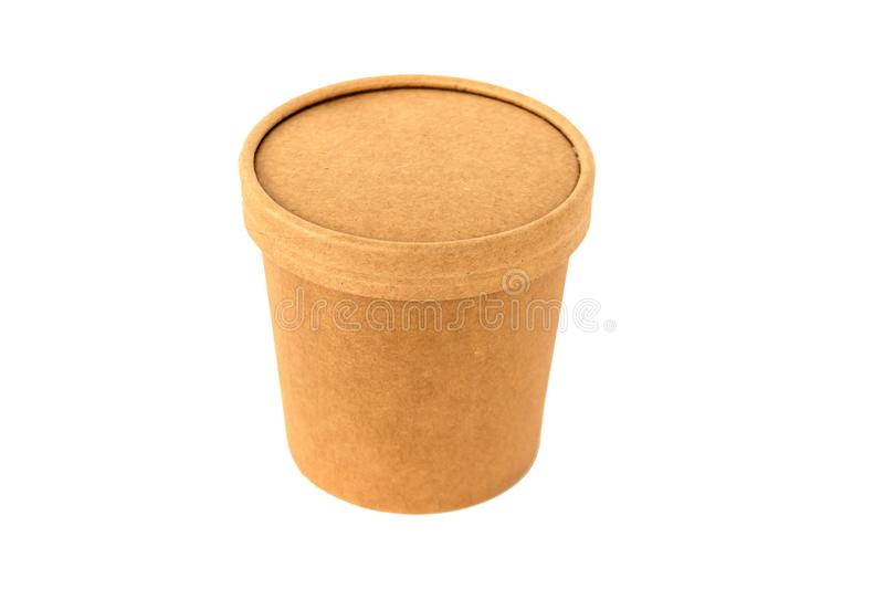 Kraft box of cardboard cylindrical shape for food packaging. For royalty free stock photography