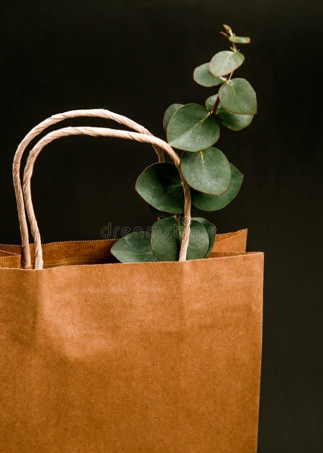 Kraft brown paper shopping bag black background Spring concept stock images