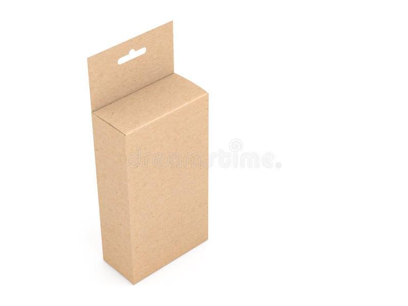 Kraft brun pappers- ask som förpackar med Hang Tab Mockup i den vita studion royaltyfri illustrationer