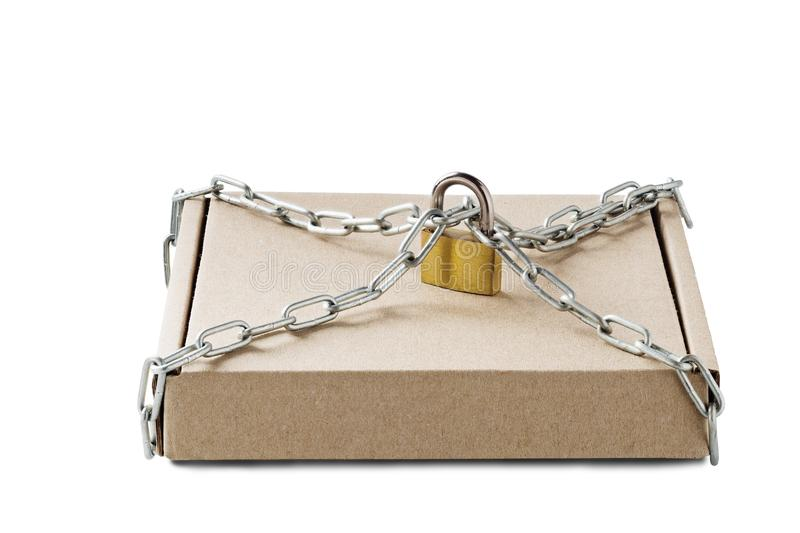 Kraft cardboard delivery boxes and padlock, chains on isolated white background. Pattern for delivery, post service. Protection of stock image