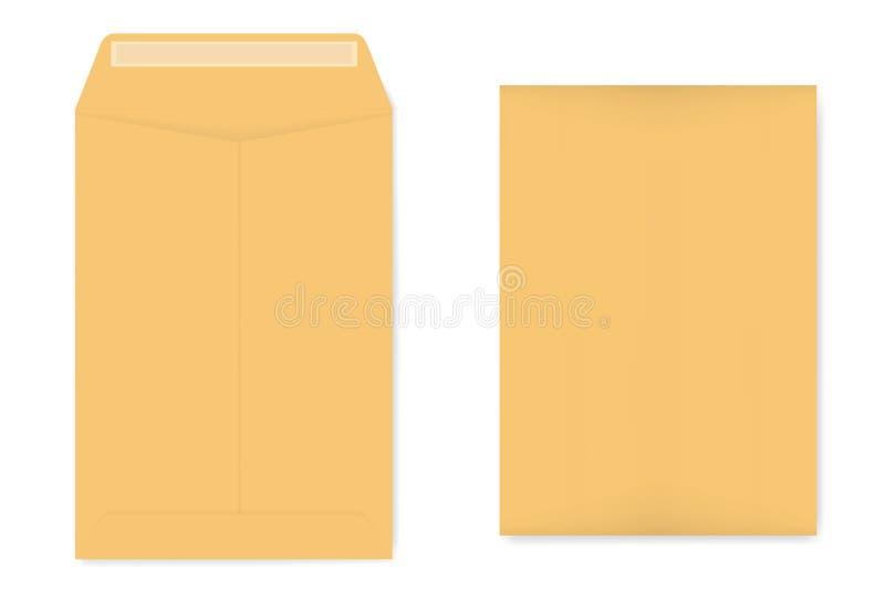 A4 kraft catalog envelope with self adhesive seal, vector template. A4 catalog envelope with self adhesive seal, mockup. Empty kraft document case isolated on stock illustration
