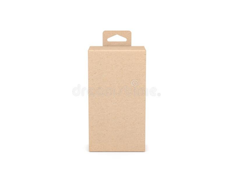 Kraft kartong med Hang Tab Mockup för design eller att brännmärka royaltyfri illustrationer