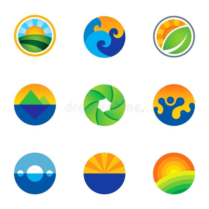 Kraft Kreislandschaftshintergrund-Logoikonen der Natur von den schönen eingestellt lizenzfreie abbildung