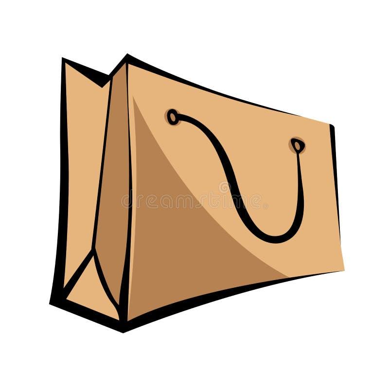 Kraft paper bag. Cartoon style. Isolated object on white background.  stock illustration