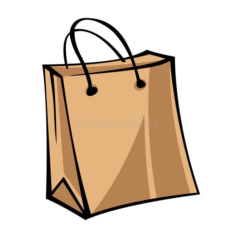 Kraft paper bag. Isolated object on white background.  stock illustration