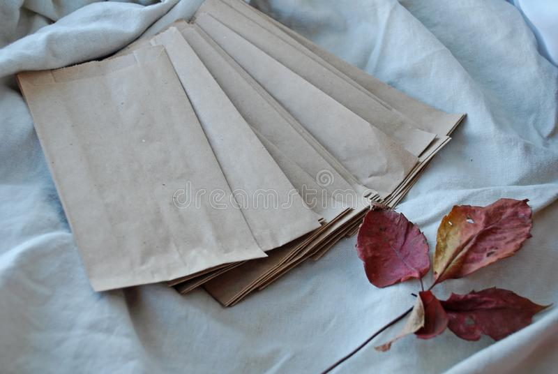 Kraft paper bags with autumn leaves on vintage linen fabric background stock image