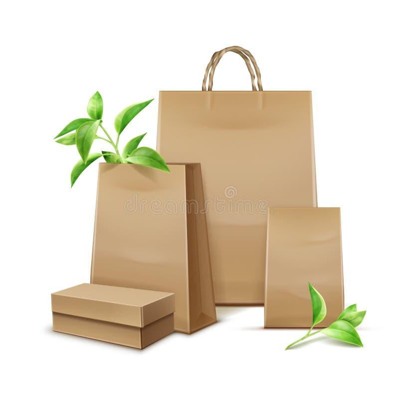 Kraft paper bags. Vector blank kraft paper bags with leaves for branding on white background royalty free illustration