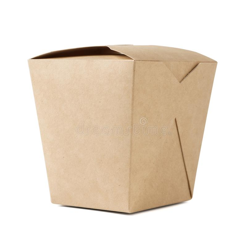 Kraft paper box for takeaway food. Closed cardboard container stock photography