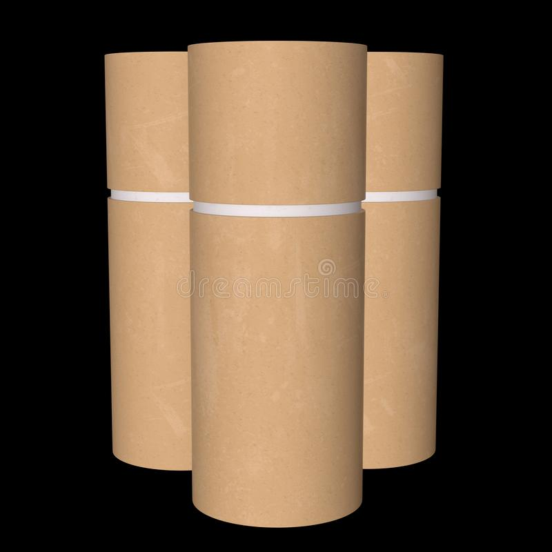 Kraft paper cardboard tube package royalty free illustration
