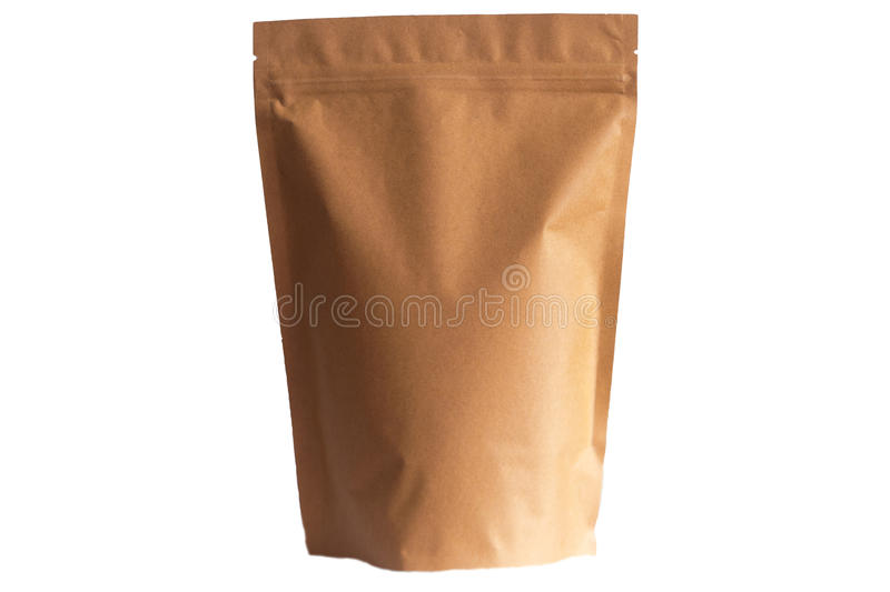 Kraft paper doypack pouch with zipper on white background royalty free stock photo