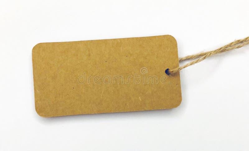 Kraft paper tag stock image