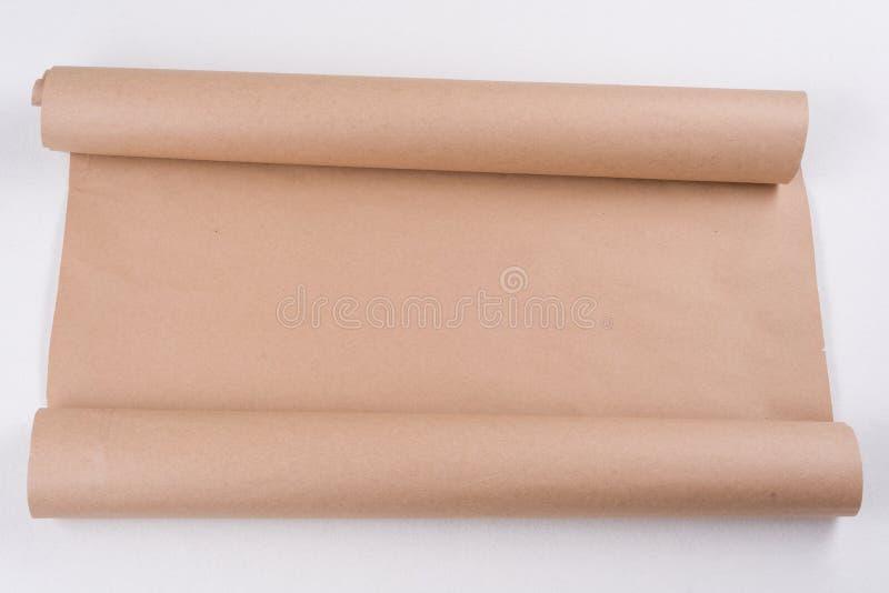Kraft papper på en rulle Bakgrund textur, kopieringsutrymme arkivbild