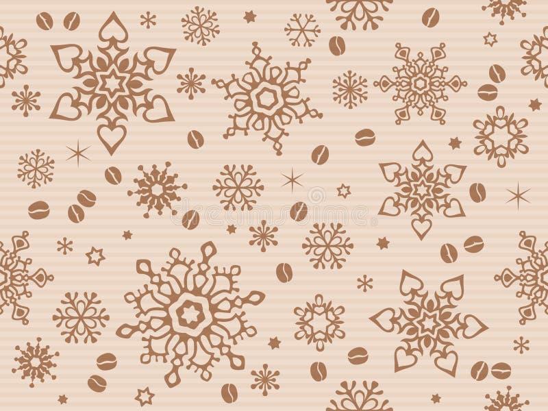 Kraft papper texturerade den sömlösa julmodellen med kaffebönan stock illustrationer