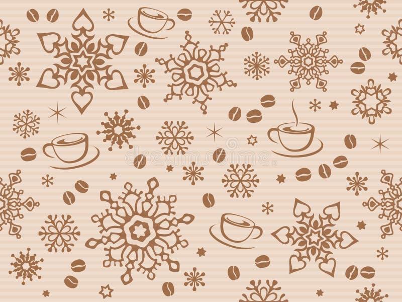 Kraft papper texturerade den sömlösa julmodellen med kaffebönan royaltyfri illustrationer