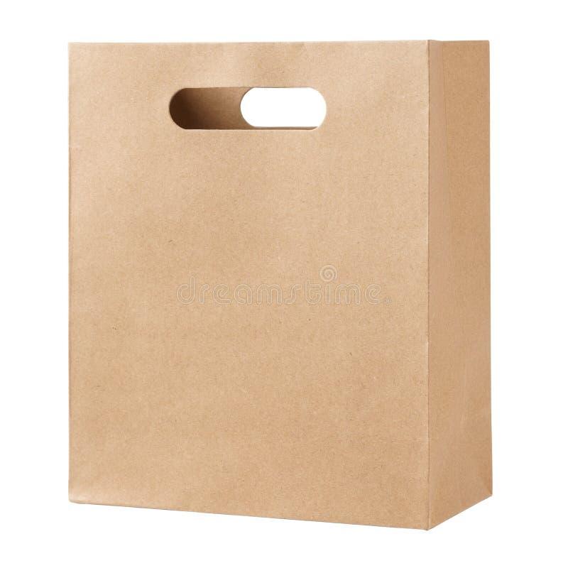 Kraft pappers- p?se som isoleras p? vit bakgrund royaltyfri foto