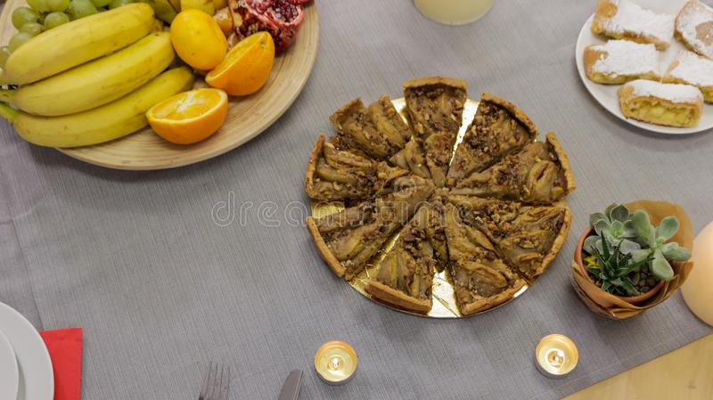 Pie and Fruits on the Festive Table stock photos