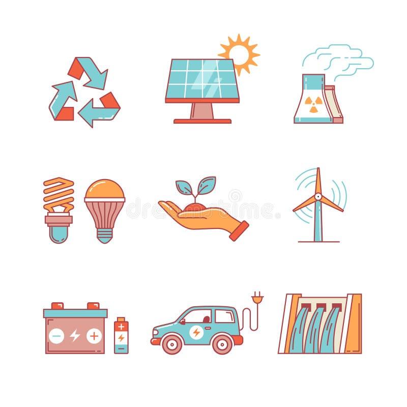 Kraftgenerering och ecologic energi stock illustrationer