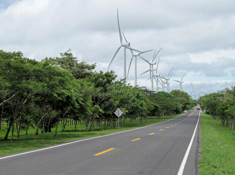 Kraftgenereringvindlantgård längs vägen, Nicaragua royaltyfri fotografi