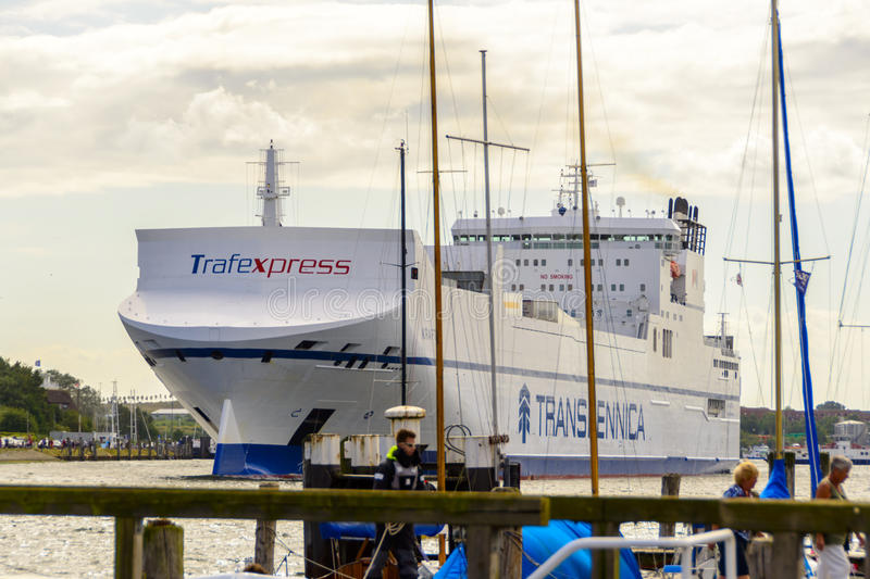 The Kraftica leaving the port of Lubeck in Germany. royalty free stock photos