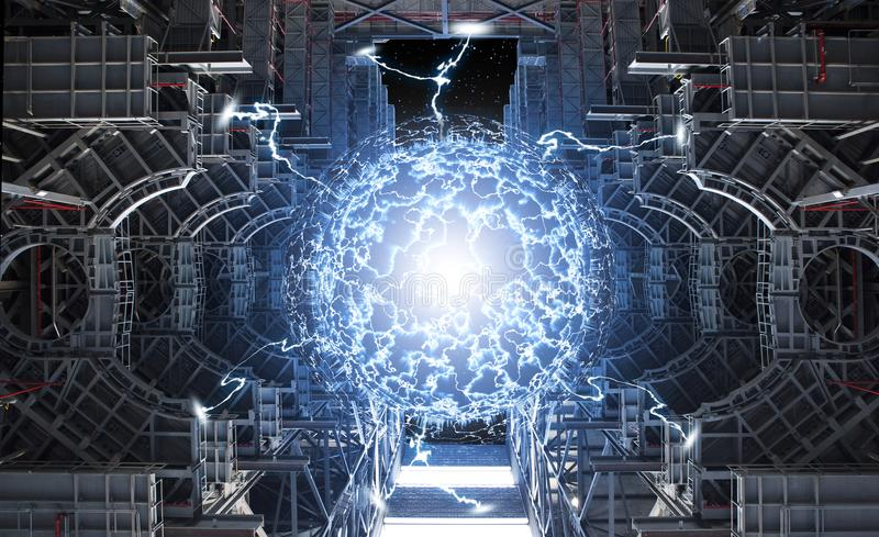 Kraftig energireaktion i reaktorkärna vektor illustrationer