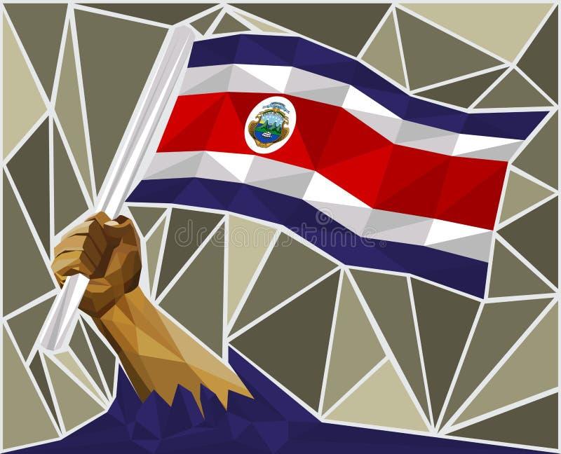 Kraftig hand som lyfter flaggan av Costa Rica vektor illustrationer