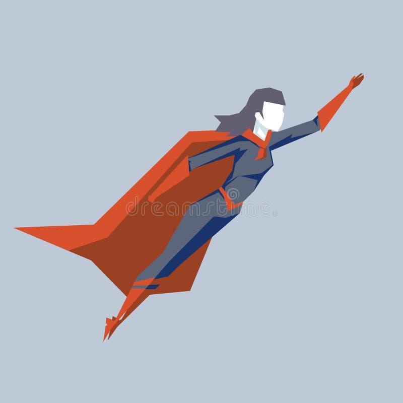 Kraftig kvinnlig superherofluga upp vektor för konst för design för fantastiskt för udde för kvinnahjälte för tecken för himmel b stock illustrationer