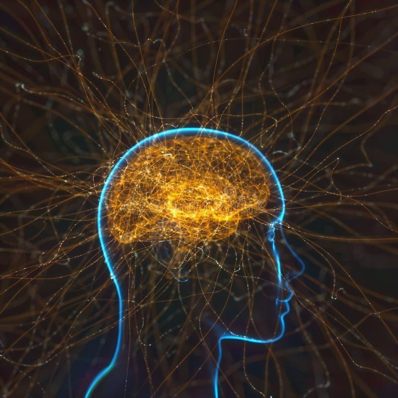 Kraftig mening Brain Neural Connections vektor illustrationer
