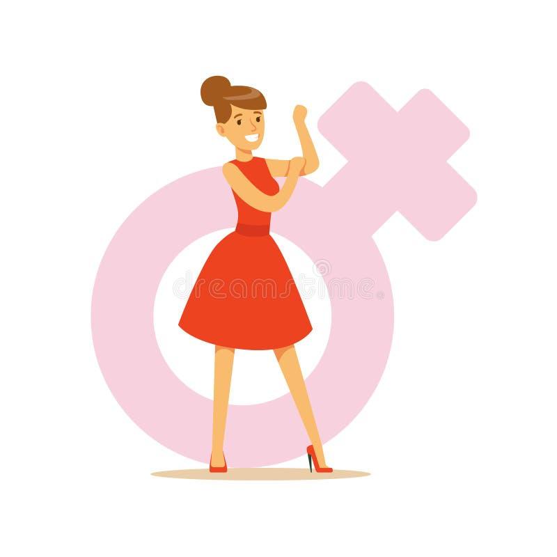 Kraftig säker kvinna i en röd klänning som visar henne biceps, för teckenvektor för feminism färgrik illustration royaltyfri illustrationer