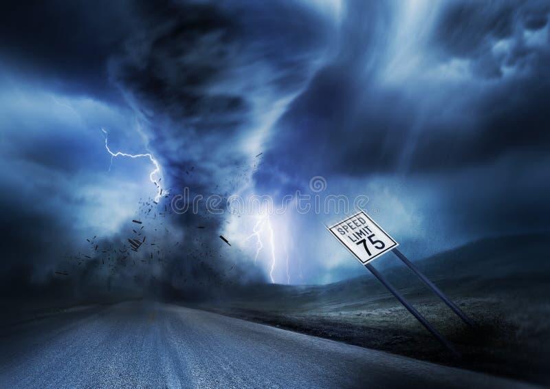 Kraftig storm och tromb royaltyfri illustrationer