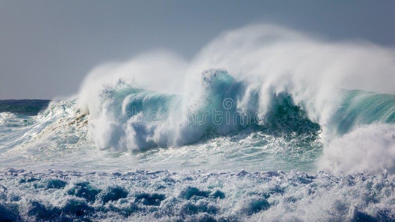 Kraftig våg som bryter nära Shoreline arkivbild