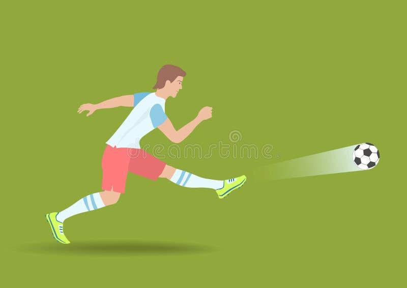 Kraftigt fotbollskott royaltyfri illustrationer