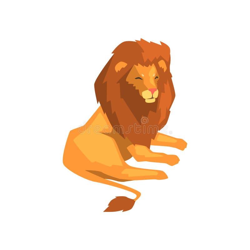Kraftigt lejon, lös liggande vektorillustration för rov- djur på en vit bakgrund vektor illustrationer