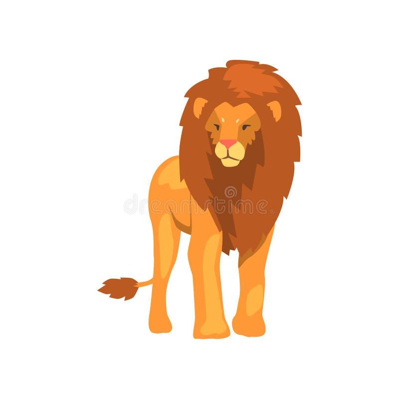 Kraftigt lejon, lös vektorillustration för rov- djur på en vit bakgrund vektor illustrationer