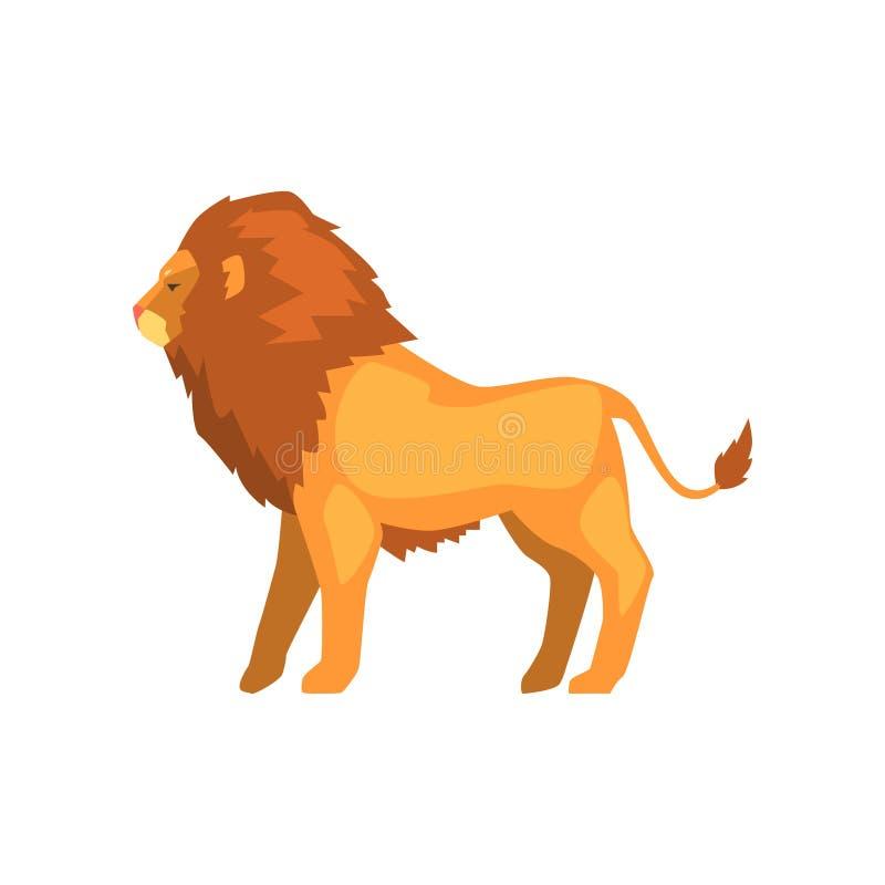 Kraftigt lejonanseende, lös för sidosikt för rov- djur illustration för vektor på en vit bakgrund royaltyfri illustrationer