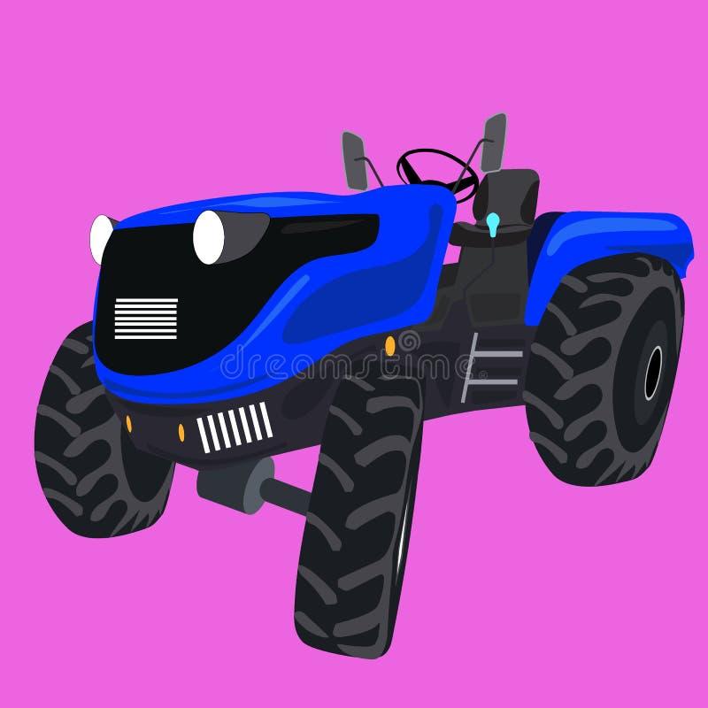 Kraftigt modernt traktorall-terräng medel med en blå skrov vektor illustrationer