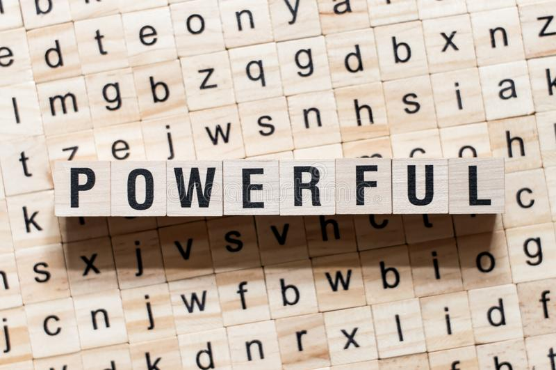 Kraftigt ordbegrepp på kuber fotografering för bildbyråer