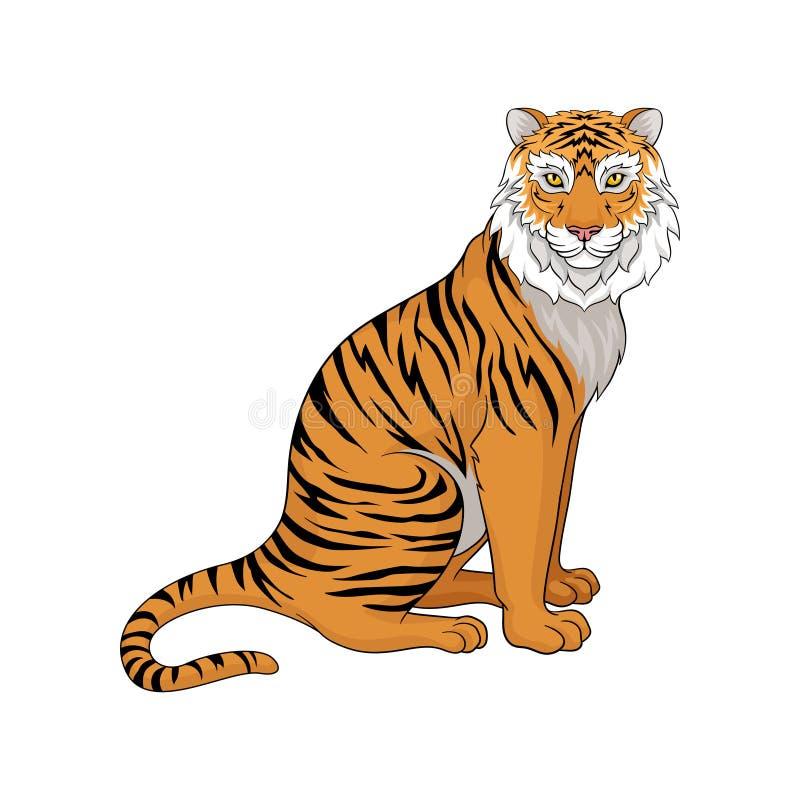 Kraftigt tigersammanträde som isoleras på vit bakgrund, sidosikt Löst djur med orange lag- och svartband vektor stock illustrationer